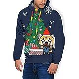 NUASGFB Aggretsuko Around The Christmas Tree - Felpa da Uomo con Cappuccio e Tasche in Velluto Nero L
