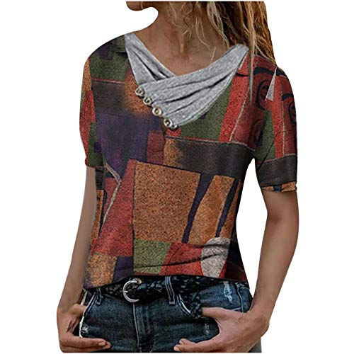 LAIYIFA Best Fashion Women's T Shirts Geometric Landscape Print Tops for Women UK Short Sleeve V-Neck Blouse Gfit Tops for Friends Casual Loose Tunic Teen Girl Clothes