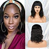 Huarisi 14 Inches Headband Wig Body Wave Virgin Hair Glueless Wig Brazilian Hair Short Wigs 100% Human Hair Headband Wigs None Lace Front Machine Made on Amazon for Women