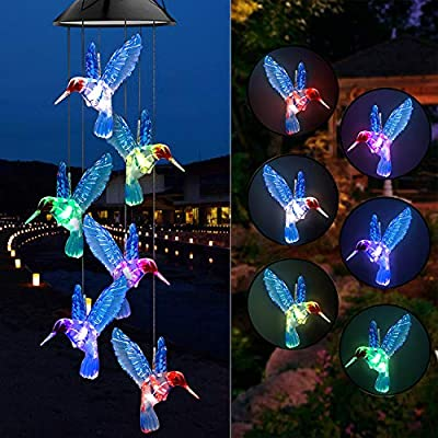 Yooda Color Changing Solar Power Wind Chime Blue Hummingbird Wind Mobile Portable Waterproof Outdoor Decorative Romantic Wind Bell Light for Patio Yard Garden Home