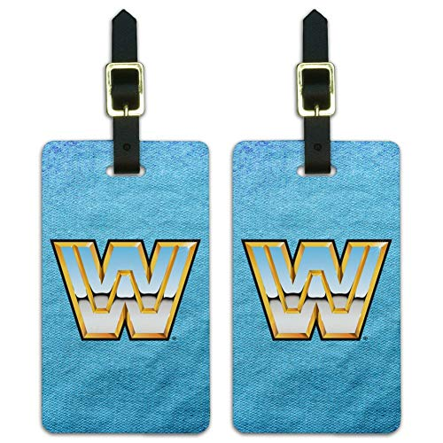 WWE Retro Logo Luggage ID Tags Suitcase Carry-On Cards - Set of 2
