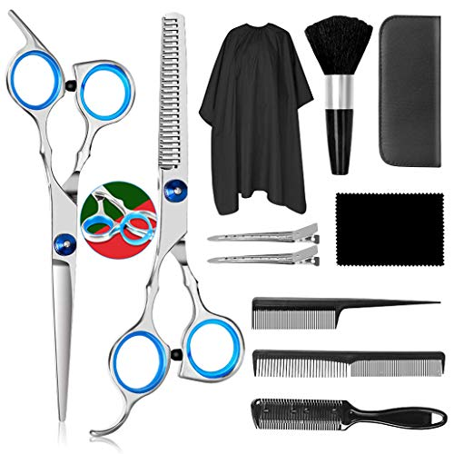 Saraha Professional Hair Cutting Scissors Sets 11PCS, Multi-purpose Hair Cutting Kit, Stainless Steel Material, corrosion resistant, For Barber,Salon,Kids,Adults Shear Sets
