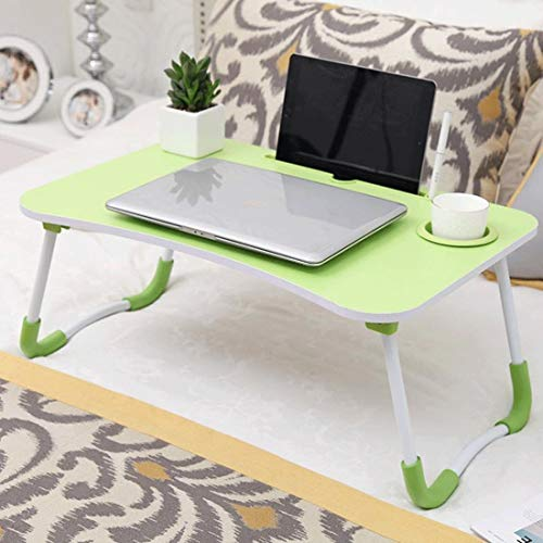 Dsrgwe Laptop Bed Table Foldable Lap Desk Notebook Stand with Cup Slot and Card Slot Breakfast Bed Tray Book Holder (Color : Green)