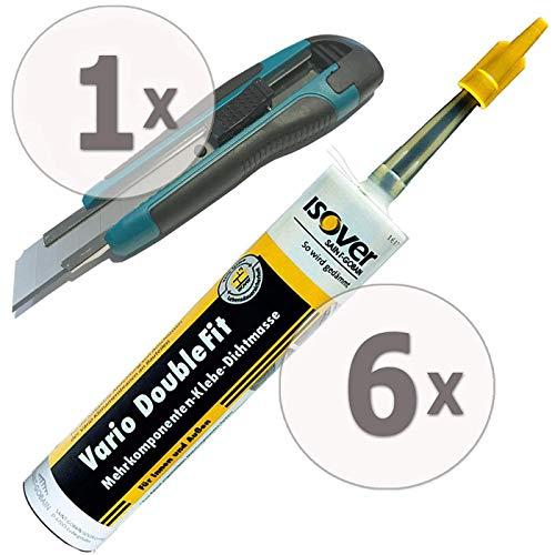 Gardopia Sparpaket - ISOVER Vario DoubleFit Universal-Klebe-Dichtmasse in Kartusche, 6 x 310 ml, plus GRATIS Nespoli soft touch Cutter 18 mm (inkl. 3 Klingen)