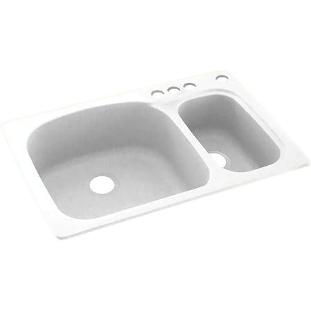 swanstone ks03322ls 010 4 4 hole solid surface kitchen sink 33 x 22 white
