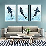 SNGTOW Hermosas imágenes de Delfines Pintura en Lienzo mar Azul Animales encantadores decoración del hogar para Sala de Estar habitación de niños   50x70cmx3 sin Marco