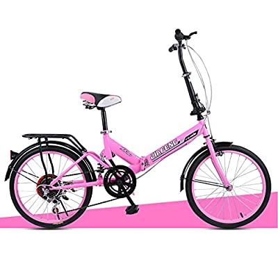 XQ- XQ-TT-612 20 Zoll Variable Geschwindigkeit Faltbare Fahrrad Dämpfung Fahrrad Erwachsene Kinder Fahrräder Frauen Student Auto Rosa