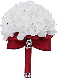 PE Rose Toss Bouquet for Bridesmaid Artificial Rose Flower Soft Ribbon Diamond Bridal Wedding Bouquet (PE-18 DarkRed)
