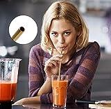 Strohhalme Löffel Wiederverwendbare Edelstahl Trinkhalme Löffel 2 in 1 Metall Löffel-Strohhalme Geeignet für Smoothies Milchshakes Cocktail Kaffee mit 3 Reinigungsbürsten 7 Stück (Mehrfarben) - 2