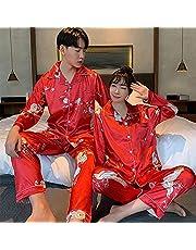 Young Lover Pijamas Mujeres de Manga Larga Primavera Verano Pijama Hombres Sueltos Pareja Pijama Conjunto Ropa de Dormir cálida Se Puede Usar afuera-Men_2XL_67.5-75KG