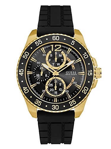 Guess Herren Analog Quarz Uhr mit Silikon Armband W0798G3
