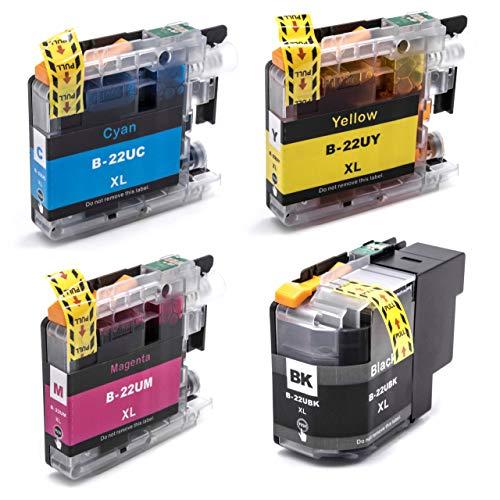 vhbw 4X Tintenpatronen mit Chip passend für Brother DCP-J785DW, DCP-J925DW, MFC-J985DW - Druckerpatronen Set