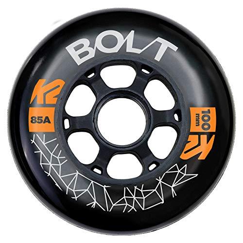 K2 Skates Unisex– Erwachsene Rollen Bolt 100 MM 85A 4-Wheel Pack — Black — 100mm — 30F3012