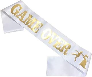 Game Over Sash Belt Just Divorced Sash Break up Belt Bachelor Party Groom BS04 (White-Game Over)