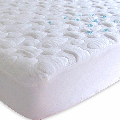 40-Winks Tencel Pebble-Puff Waterproof Mattress Pad Protector, White, King, Geometric