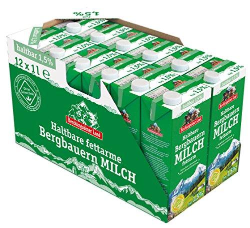 Berchtesgadener Land Haltbare Bergbauern-Milch, 1.5% Fett, 12er Pack (12 x 1 l)