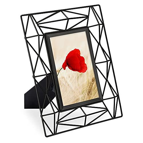 Navaris Cornice Portafoto da Tavolo Design Geometrico - Cornice Porta Foto Metallo da Appoggio - Posizionamento Verticale Orizzontale 24x19cm - Nero