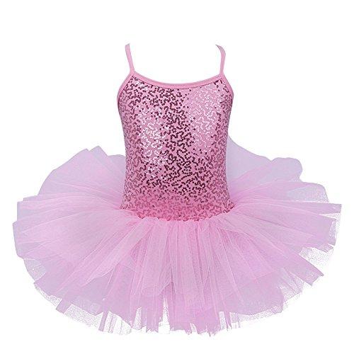 iiniim Mädchen Kleider Ballettkeider Ballettanzug Turnanzug Trikot Tanz Leotard Kleider mit Tüll Rock Rosa Pailletten 98-104