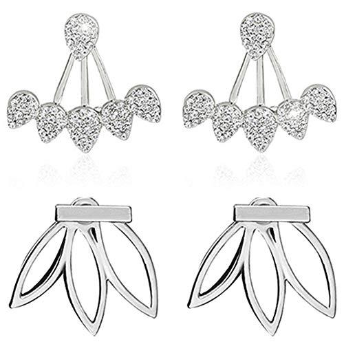 Suyi Fashion Hollow Lotus Flower Earrings Crystal Simple Chic Stud Earrings Set BS