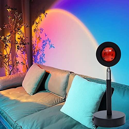 Lámpara de Proyección Sunset, Sunset Rainbow Peojection Night Light Projector, 180° Rotation,...