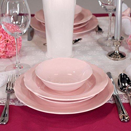 Kütahya Porselen Porzellan 24 tlg Tafel Set Tafel Service Teller Set Pink Geschirr