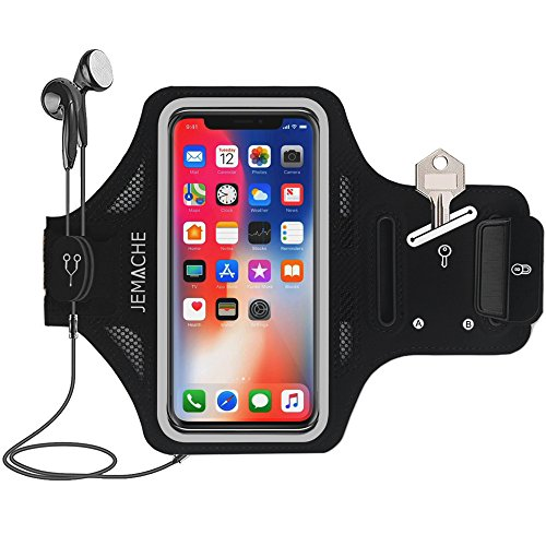 iPhone 12 Mini Armband, JEMACHE Water Resistant Gym Running Workouts Thin Phone Arm Band for iPhone 12mini (5.4 inch) with Key Holder (Black)