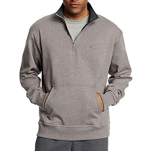Champion Herren Powerblend Quarter-Zip Fleece Jacket Jacke zum Aufwärmen oder Laufen, Oxford-Grau, Klein