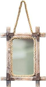 Espejos de la vanidad montados en la Pared Cuerda de cáñamo rústica Que cuelga Espejo Industrial Retro Decoración de la Pared para Las entradas, Salas de Estar, baño, W42 × D5 × H86cm