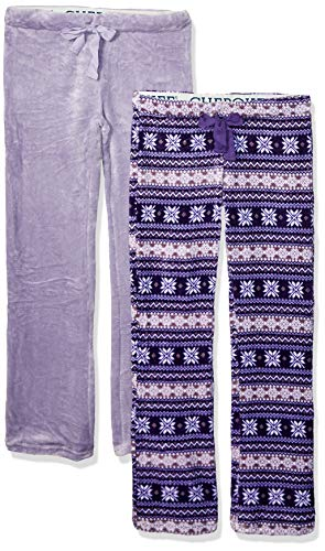Cherokee Women's 2-Pack Plush Pajama Pants, Purple, S