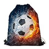 INSTANTARTS Water Fire Soccer Ball Drawstring Sackpack Boy Sport Bag Cinch Gymsack