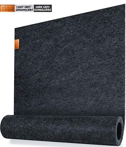 Miqio - Design Tischläufer - Filz und Leder - 150 x 40 cm Waschbar - mit Echtleder Applikation - Passend Tischsets
