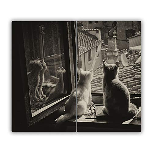 Tulup Tabla De Cortar Cocina 2x30x52cm - Vidrio Protector De Placa De Induccion - Gatos En La Ventana