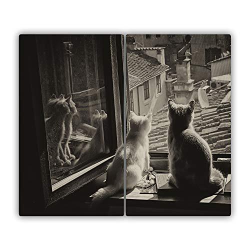 Tulup Planche À Découper - 2x30x52cm - Protection Plaque Induction Cuisson Tapis de Découpe Verre Trempé - Chats Par La Fenêtre