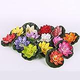 Wingbind 5 STÜCKE Künstliche Lotusblumen, Real Touch Schaum Lotus Blume für Aquarium Terrasse Garten Schwimmende Pool Dekoration Hochzeit-Farbe von Random