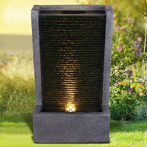 Gartenbrunnen Brunnen Zierbrunnen Zimmerbrunnen Springbrunnen Brunnen KÖNIGSBACH mit LED-Licht 230V Wasserfall Wasserspiel für Garten, Gartenteich, Terrasse, Balkon Sehr Dekorativ