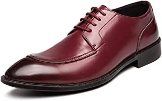 Formal Dress Shoes For Men Business Oxfords Lace Up Unanimous Color Pointed Toe Split Joint Flat Anti-slip Synthetic Leather Shiny Style casual shoes (Color : Red, Size : 42 EU)