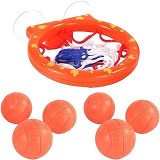 TOYANDONA 7Pcs Bathroom Basketball Hoop Balls Playset Baby Bathing Toys Bathtub Shooting Game Baby Water Playing Toys