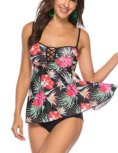 FeelinGirl Mujer Traje de Baño Falda Elegante Estampado Conjuntos de Uno/Dos Piezas Sexy Talla Grande Bañador con Braga