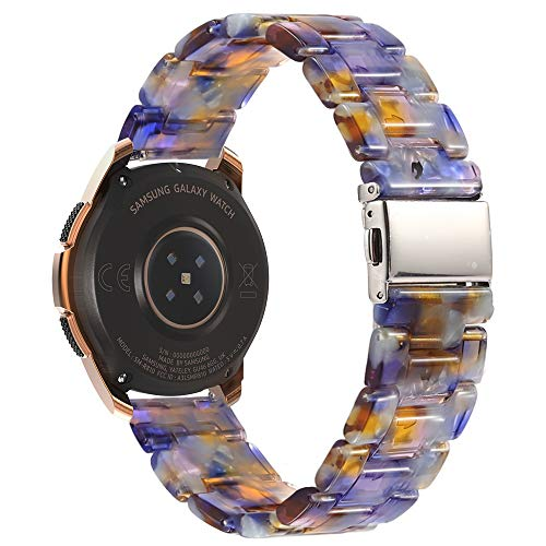 MoKo Band Compatible with Samsung Galaxy Watch 3 41mm/Galaxy Watch Active/Active 2/Galaxy Watch 42mm/Gear S2 Classic/Ticwatch 2/E/Vivoactive 3, 20mm Luxury Resin Replacement Bracelet Strap,Ocean Blue