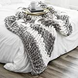 Chunky Knit Blanket Super Soft - Cozy Chenille Chunky Knit Blanket Throw for Luxurious Home Decor - Timeless Grey & White Design - Machine Washable - 50 x 60 inches