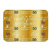 NIESIKKLA バスマット、ゴールドハッピー50歳の誕生日パーティーゴールデンスター、マット滑り止め ソフトタッチ 丸洗い 洗濯 台所 脱衣場 キッチン 玄関やわらかマット 45 x 75cm