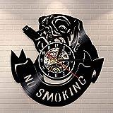 Fryymq (12 Zoll mit LED) Rauchen Bulldogge Uhr Pekingese Hund Wanduhr Nichtraucher Vinyl Schallplatte Wandbehang Kunst Bulldogge Wanduhr Dekoration