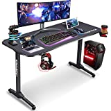 Kingrack T-Shaped Gaming Desk,Gaming PC Desk, Large Gamer Tables, Writing Table,Computer Workstation With Free gaming handle rack, Full Mouse Pad, Cup Holder, Headphone Hook, Black, 140 CM WK920008