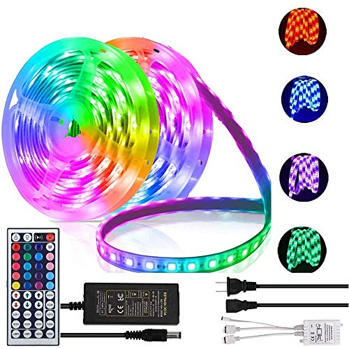 Daufri Led Strip Lights Led Lights 32.8FT 25M SMD 5050 RGB Waterproof Color Changing with 44Keys IR Remote 12V Power Supply for Bedroom Yard TV Wall Party Kitchen TIK TOK