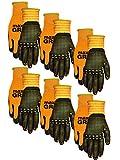 Midwest Gloves & Gear 94P06-LX-00  Grip 6 Pack Men's Max Performance Glove, Orange- Fits Large-XL