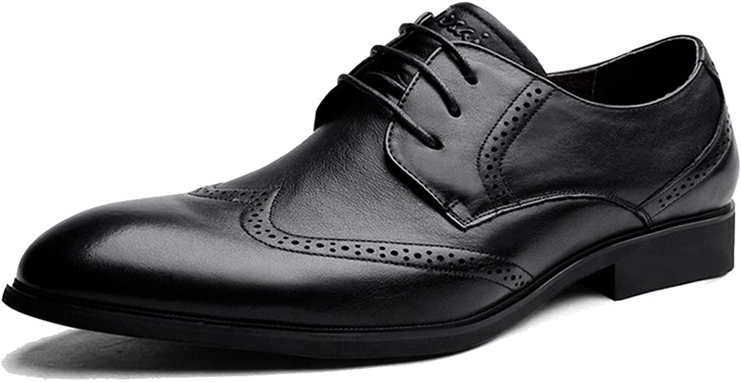 Men's Lace-ups Brogues Genuine Leather Wedding Pointed shoes Formal Business Toe Footwear Party Derby