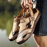 MLLM - Pantofole da bagno da uomo, unisex, casual, in pelle, da spiaggia, colore: kaki