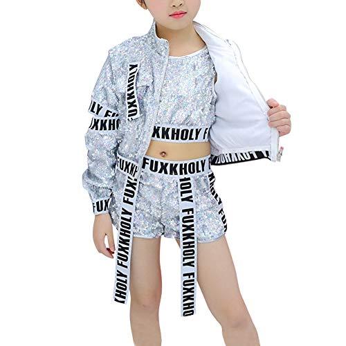 Yuluo Kinder Mädchen Pailletten Kleidung - Tanzsport Bekleidung Dancewear Rapper Kostüme Jungen Mädchen Streetwear Modern Jazz Hip-Hop Kleidung
