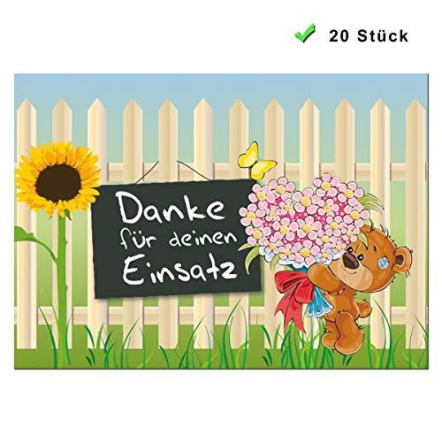 Postkarten Sprüche Danke 20er Geschenk Set Dankeschön Tier Karten Bären Einsatz Spruch Dankessprüche Dankeskarte Abschied Kollegen Bunt