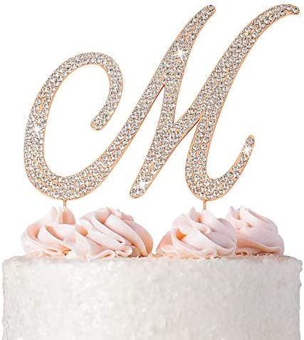 Letter M Cake Topper Premium Rose Gold Metal M Monogram Wedding or Anniversary Party Sparkly product image